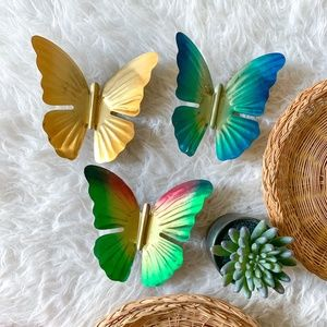 Vintage MCM Multicolor Brass Butterfly Wall Decor